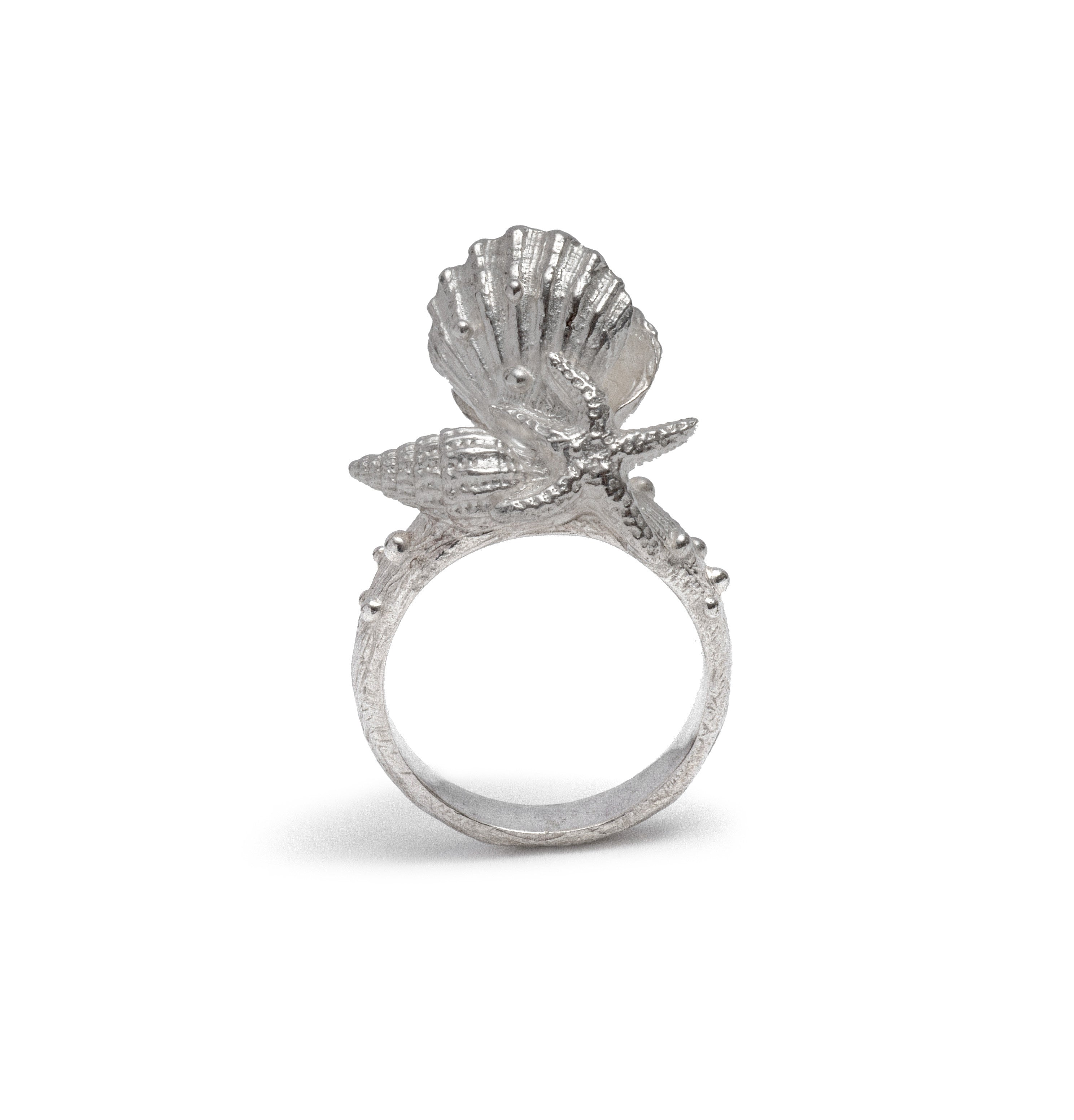 Clam Shell Pearl Ring