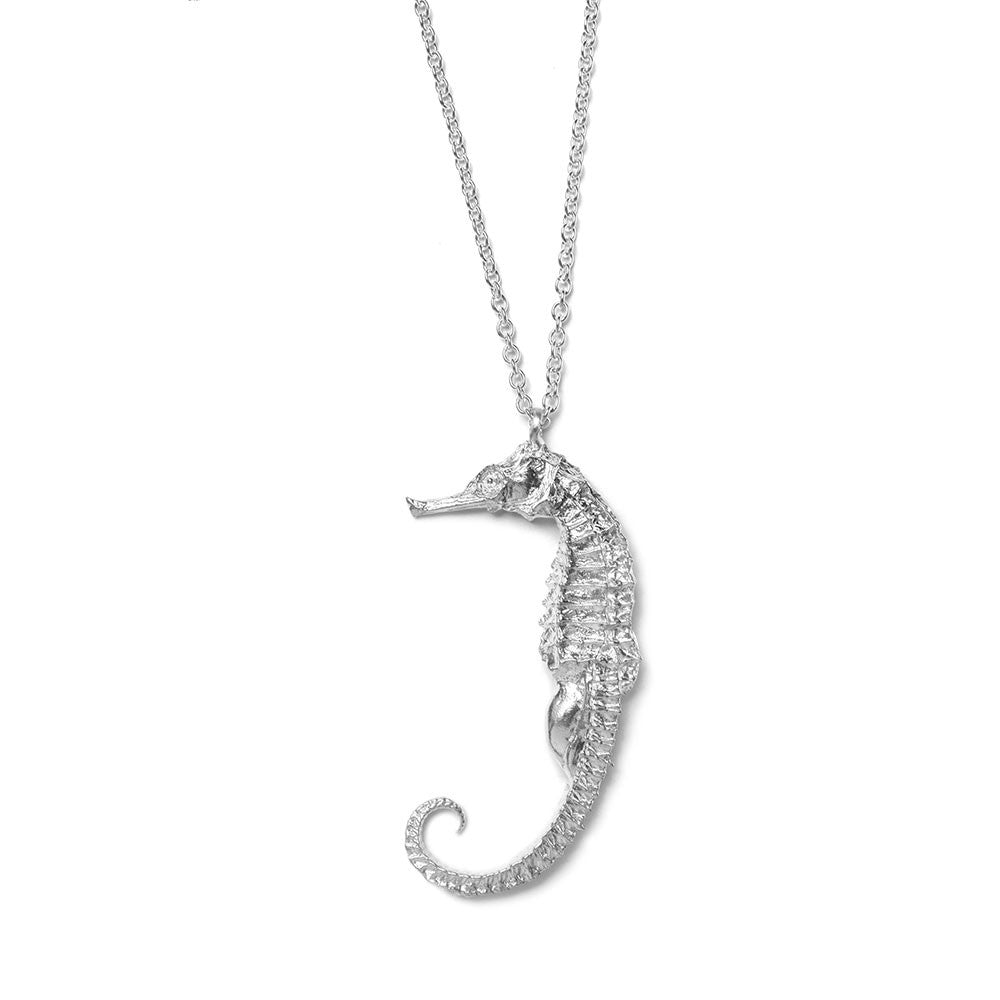 Pregnant male seahorse necklace ~ (polished silver)