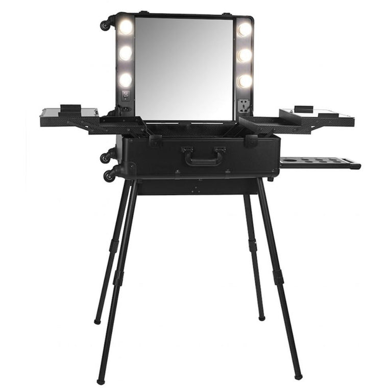 Makeup Case On Castor Wheels with Lights & Stand (BLACK)