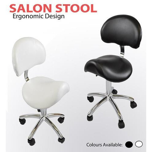 Saddle Stool with Back Rest (Black or White)