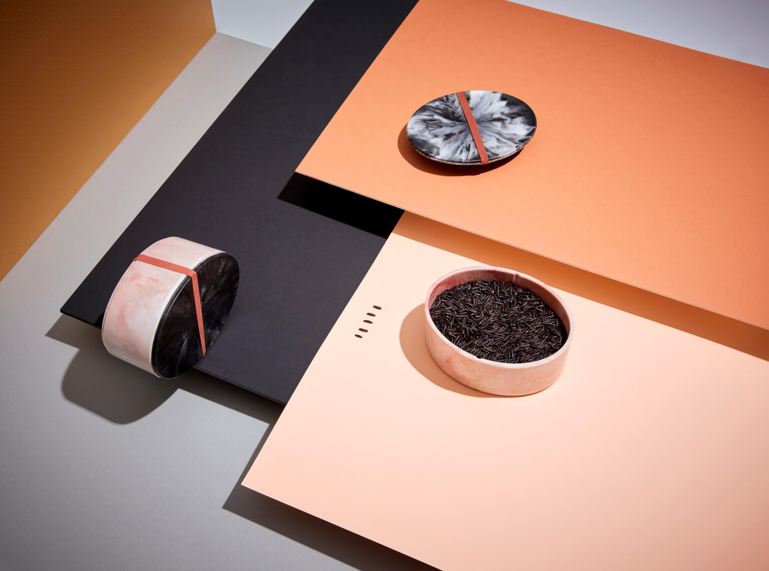 Marine Debris Bakelite bento boxes, innovated and designed by Sarah K and Andrew Simpson