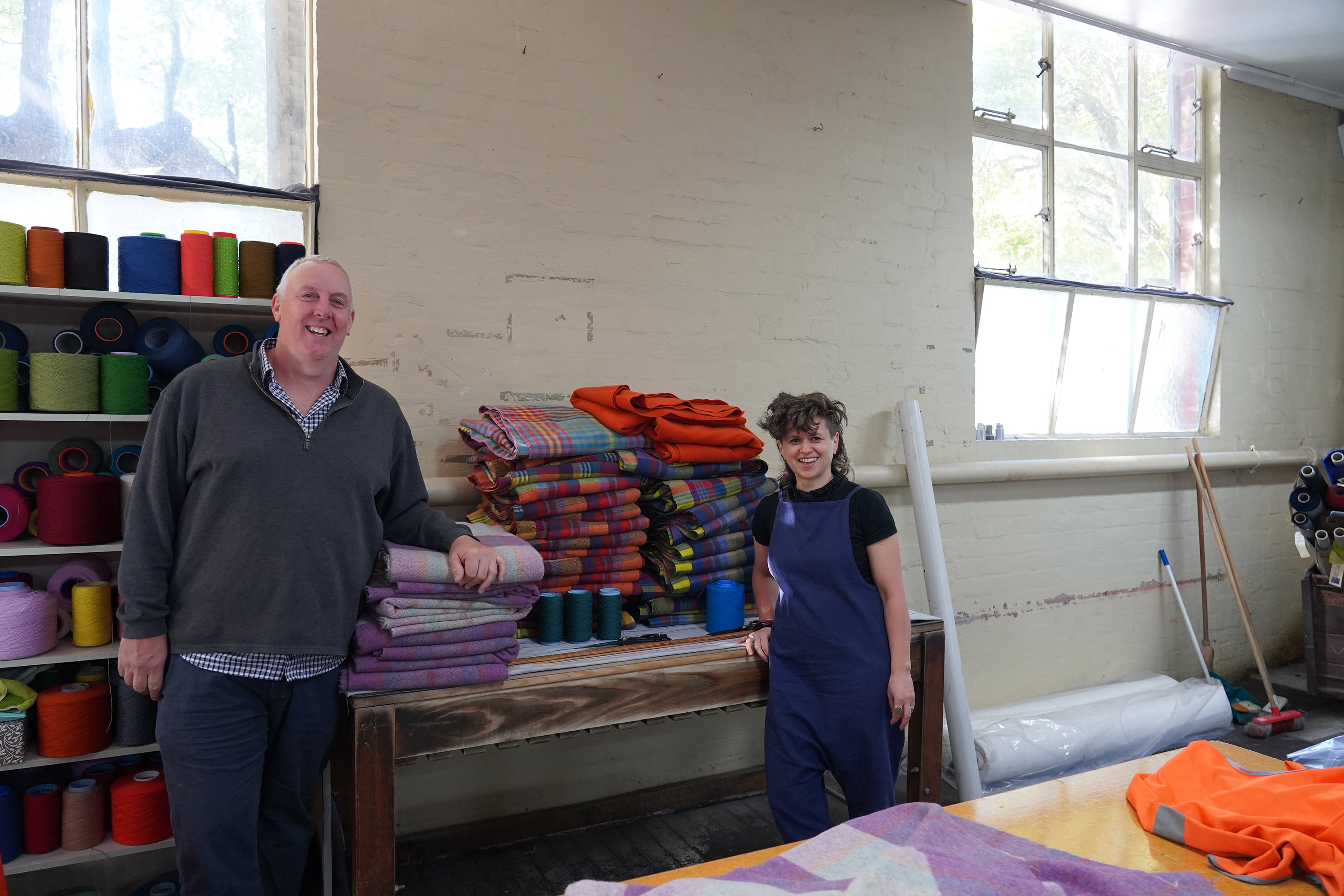 Mill director Quentin and textile designer Ana at the mill