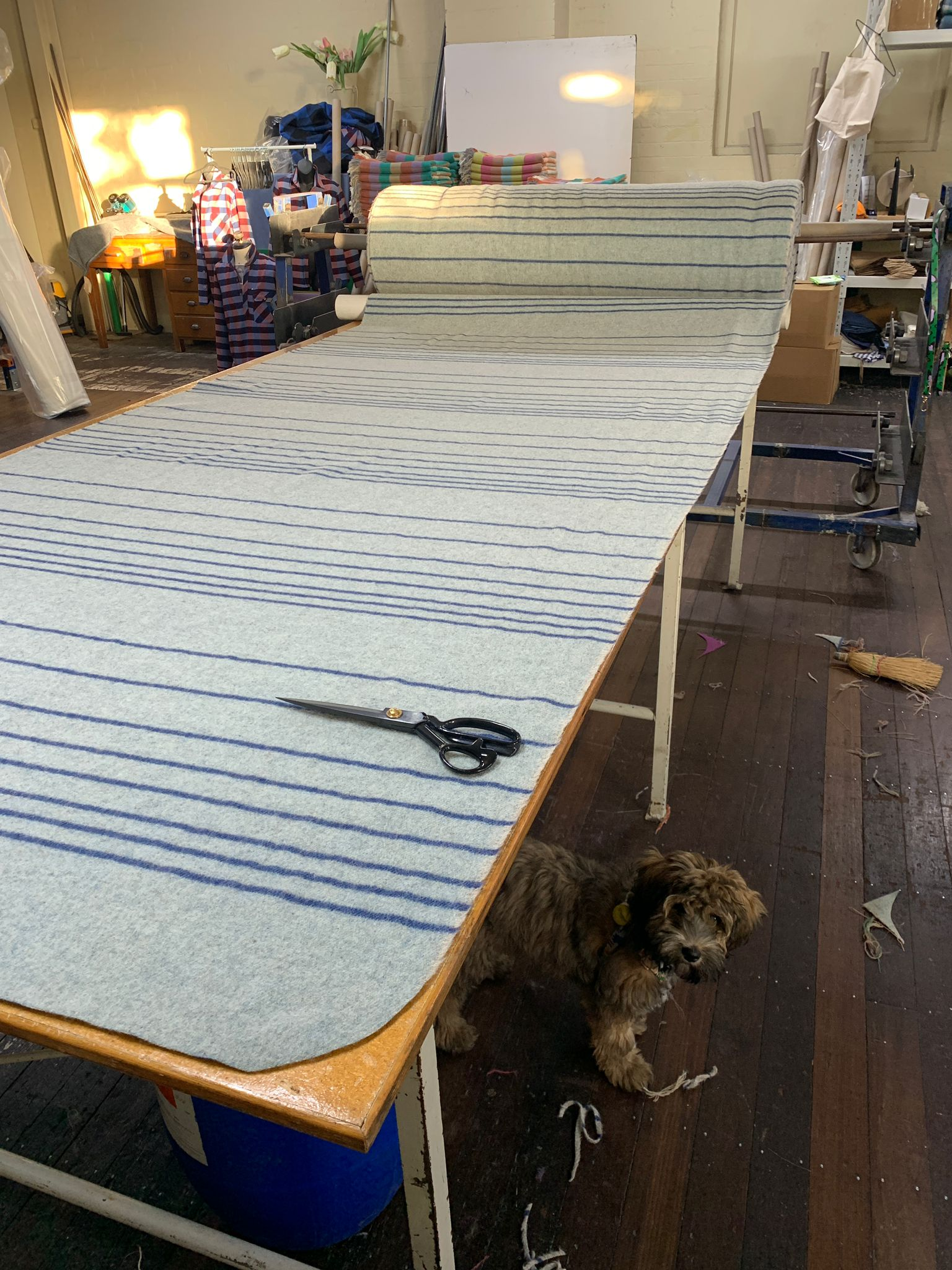 The Swell blanket on the cutting table at the mill