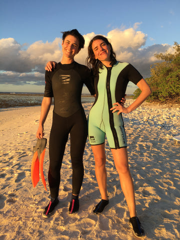 Karina and Sam Seljak on the reef