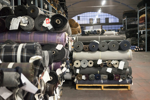 rolls of recycled fabrics ready to ship out to customers