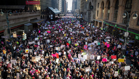 Protesters in NYC for Women's March.
