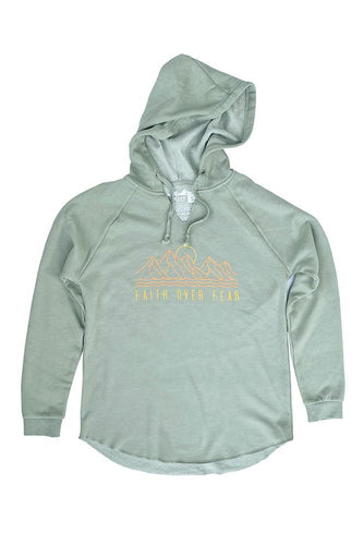 Womens Wave-Wash Faith Over Fear Hoodie