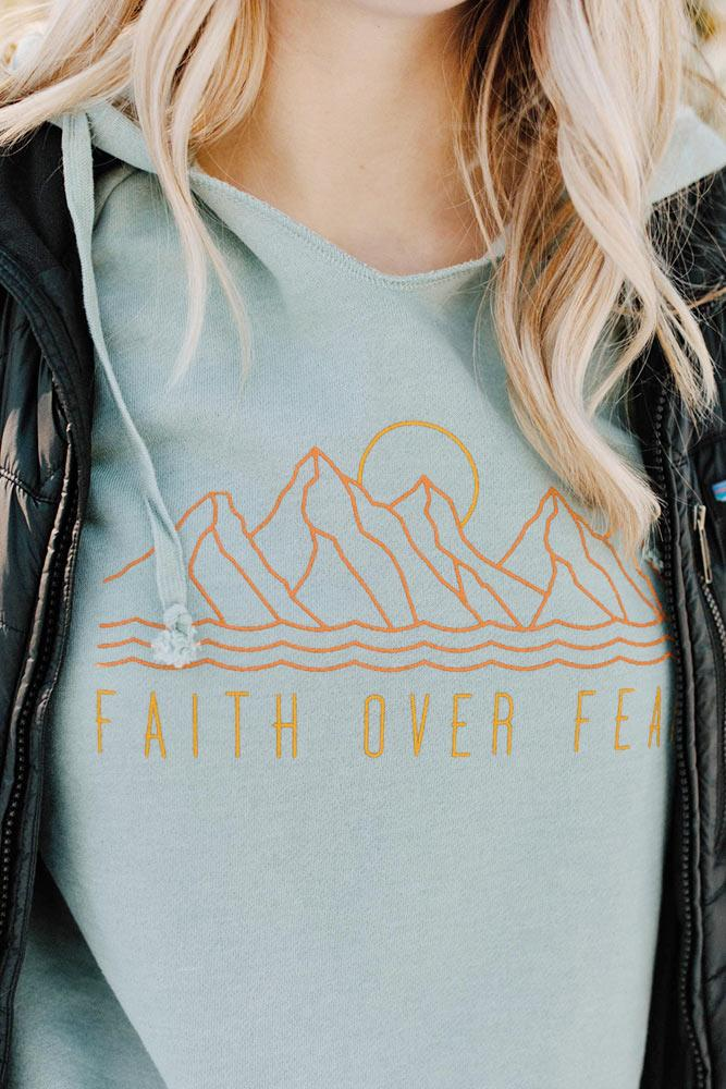 Womens Faith Over Fear Wave Wash Hoodie