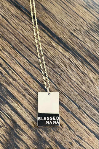 Blessed Mama Rectangle Necklace