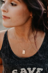 Dearly Loved Rectangle Necklace