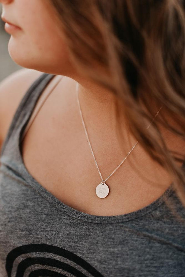 Faith Over Fear Disc Necklace