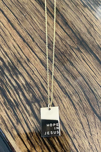 Hope In Jesus Rectangle Necklace