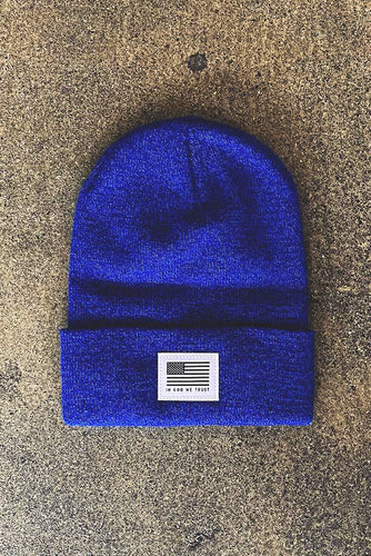 Royal Blue God We Trust Beanie