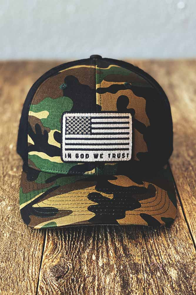 God We Trust Camo Trucker Hat