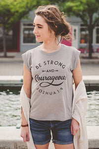 Be Courageous Flowy Rolled Cuff Tank