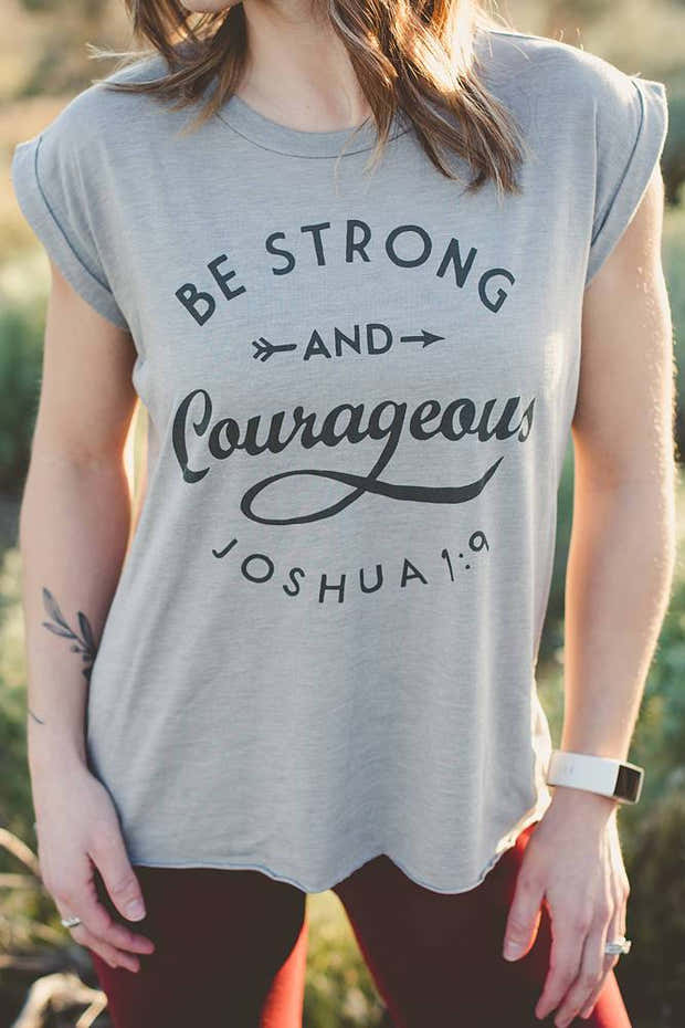 Be Courageous Flowy Rolled Cuff Tank 1