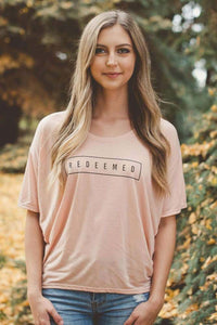Womens Flowy Redeemed Peach Tee