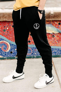 Black Anchor Jogger Pants