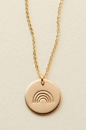 Gold Rainbow Covenant Disc Necklace