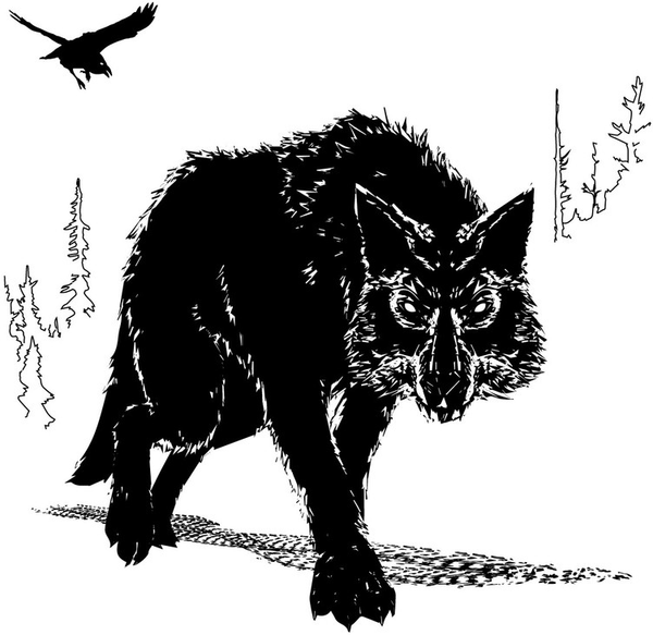 Raven and wolf illustration in black and white