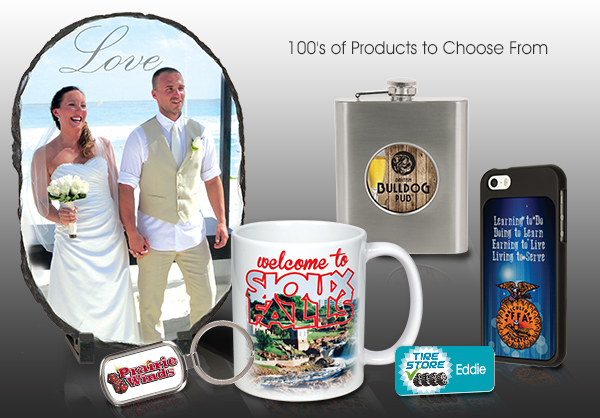 Custom photo products, sublimation, sublimated products, promo items, full color, full color promotional