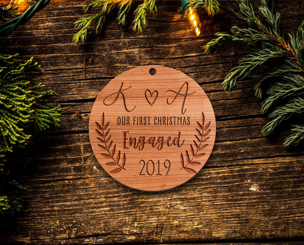 Personalized Engagement Christmas Ornaments 2019 - Laser Engraved Wood - First Christmas Engaged Ornament w/ Gift Box