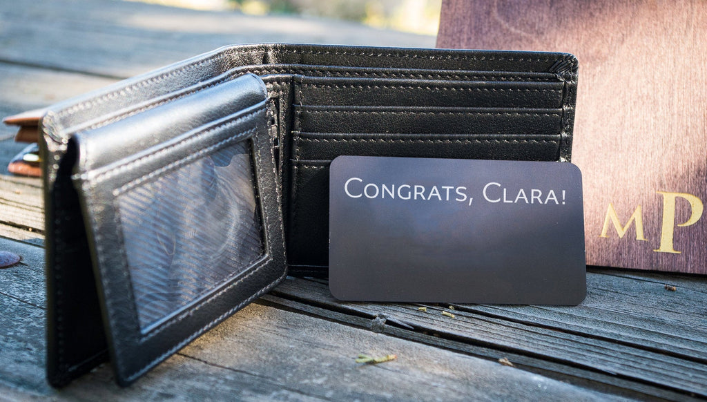 New Grad Card Keepsake, Custom Engraved Wallet Card Insert, Personalized Graduation Gift, Engraved Wallet Card Memento