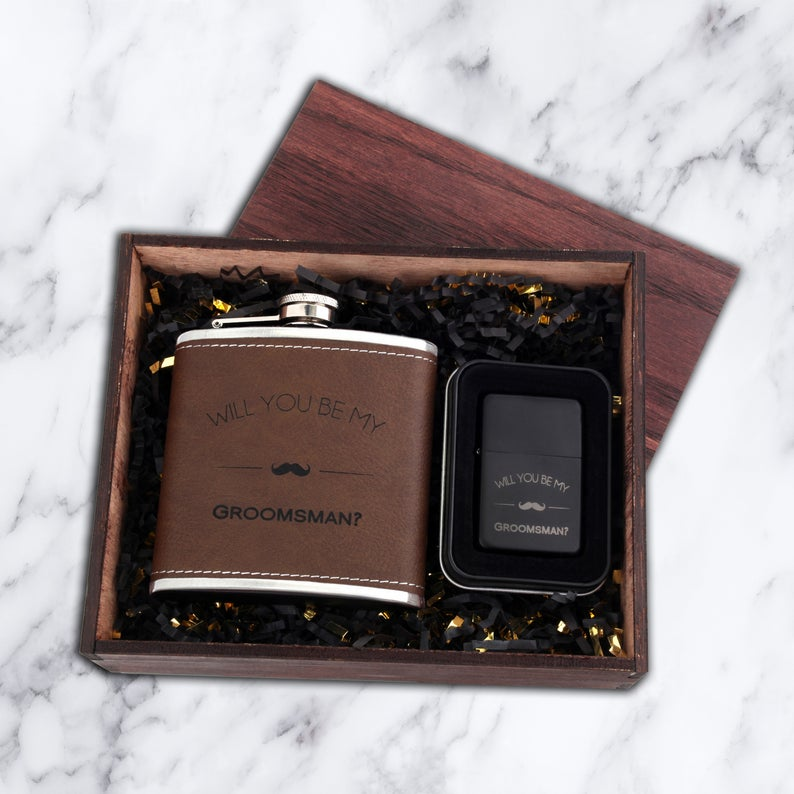 Groomsmen Proposal Box - Flask & Lighter Set - Best Man Proposal Box - Will You Be My Groomsman