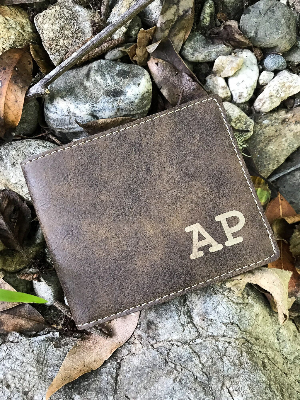 Personalized Leatherette Mens Wallets, Bifold Mens Wallet, Custom Monogram Wallet, Groomsman Wallet, Mens Leather Trifold,