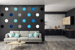 DIY POLKA DOTS WALL DECALS - VINYL DECAL HOME DECOR - GOLD WALL STICKERS - REMOVABLE PEEL AND STICK DOTS