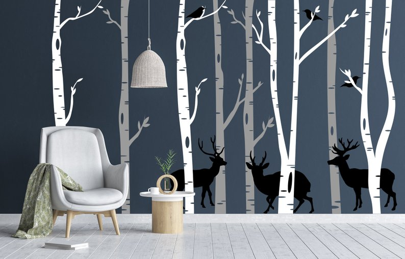 Birch Tree Wall Decal - Forest Wall Mural - White Vinyl Large Tree Wall Decal w/ Deer Woodland Scene Silhouette - Removable