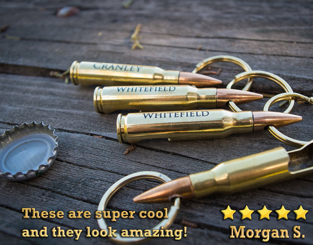 Engraved Bullet Bottle Opener Keychain, Custom Personalized .762mm Brass Bullet Key Chain