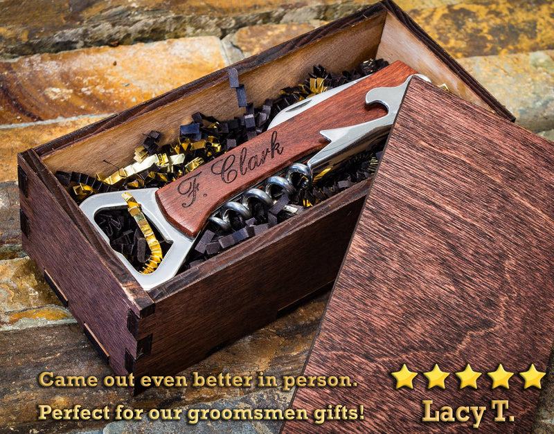 Personalized Corkscrew, Bottle Opener & Wine Multi Tool - Great Wine Gift, Custom Engraved Wood & Steel