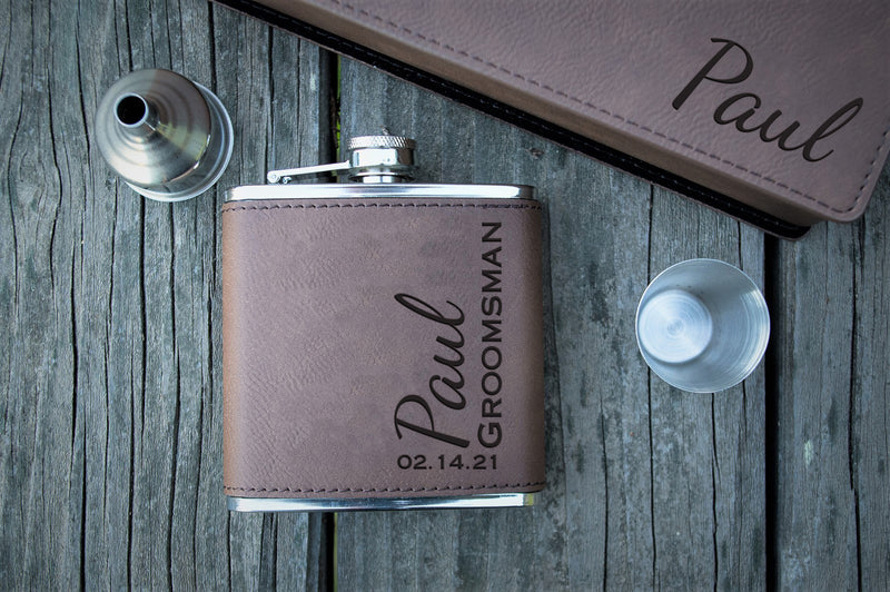 Custom Laser Engraved Flasks For Groomsmen - Personalized Vegan Leather Wedding Flask Gift Set - Dark Brown
