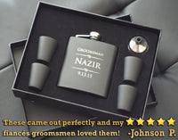 Personalized Hip Flask For Groomsmen - Engraved Flask Set - Black Matte Finish Stainless Steel 6 oz