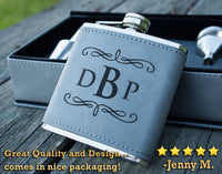 Groomsmen Flask Set - Personalized Leather Wrapped Flask, Laser Engraved with Initials or Custom Text