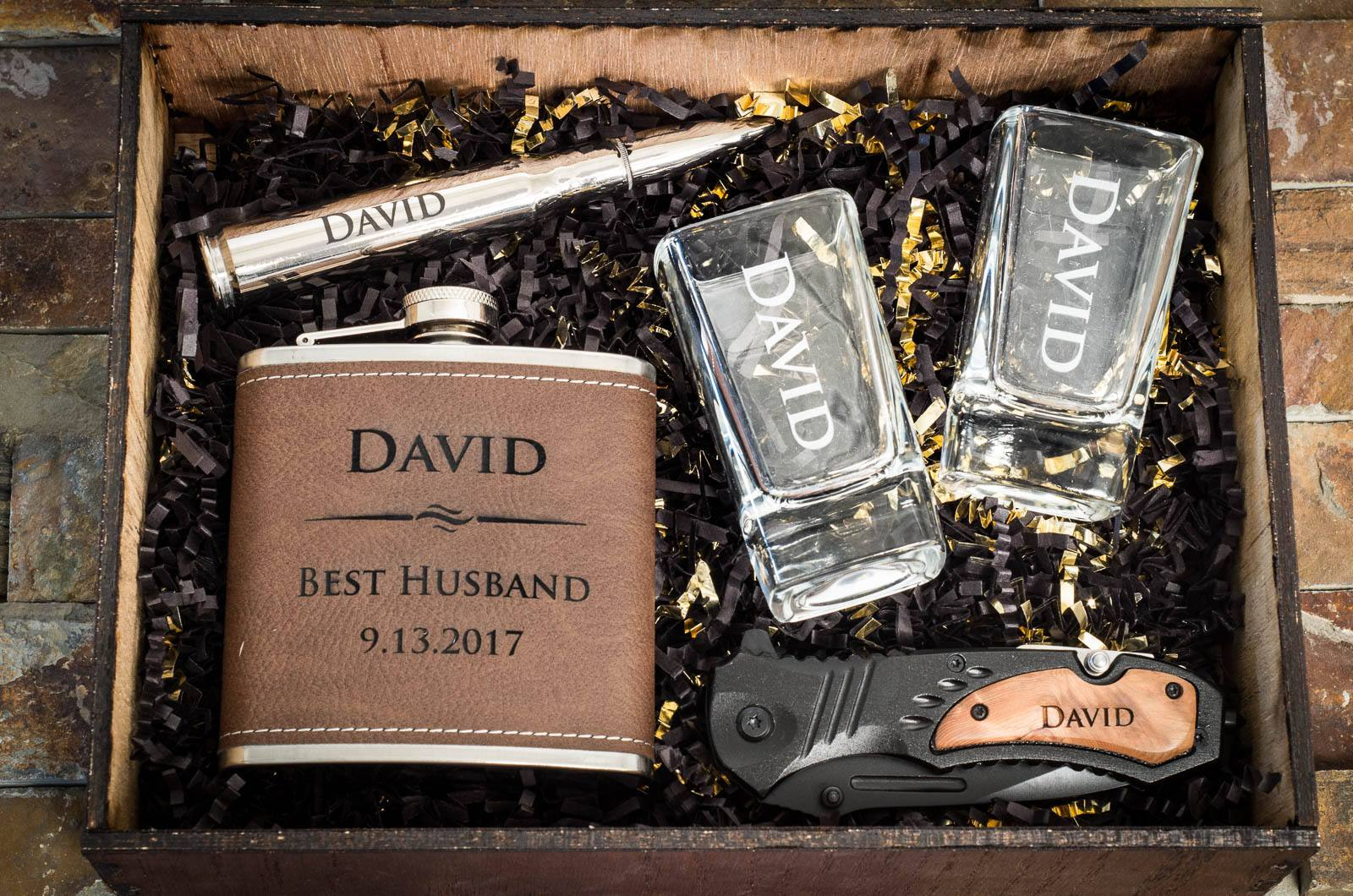 Gift For Husband Box Him Set Personalized Boyfriend Engraved Wooden