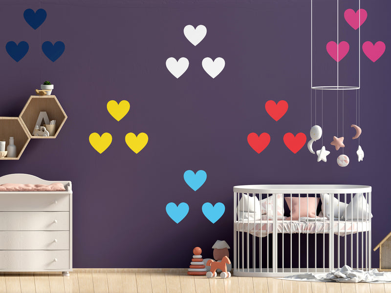 DIY HEARTS WALL DECALS - VINYL DECAL HOME DECOR - GOLD WALL STICKERS - REMOVABLE PEEL AND STICK HEARTS