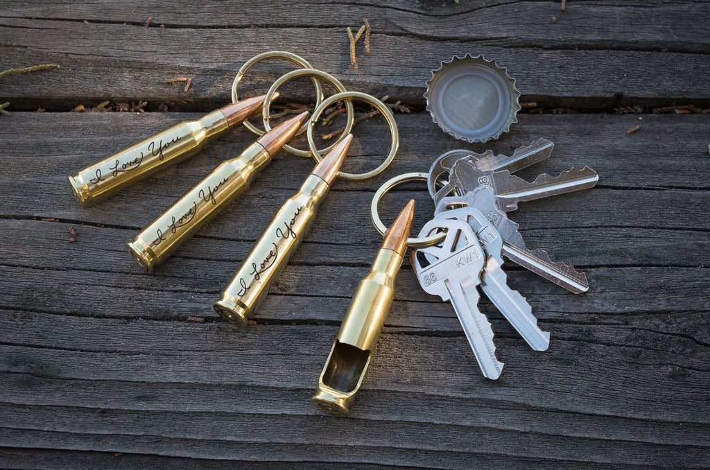 I Love You Bullet Bottle Opener Key Chain, I Love You Gift, .762mm Brass Bullet Key Chain