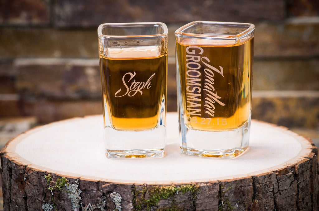 Personalized Square Shot Glass - Custom Engraved Shot Glass, Wedding Favor, Party Favor - The Personalized Gift Co. - Glassware - 2