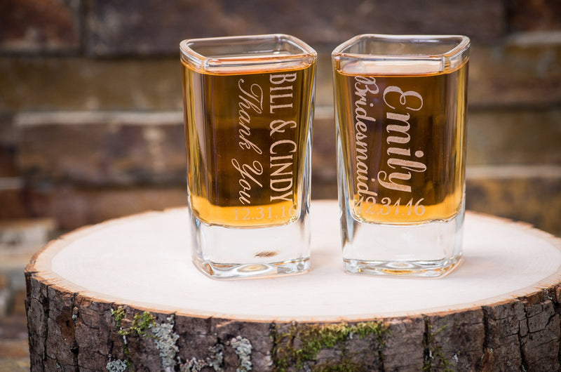Personalized Square Shot Glass - Custom Engraved Shot Glass, Wedding Favor, Party Favor - The Personalized Gift Co. - Glassware - 1