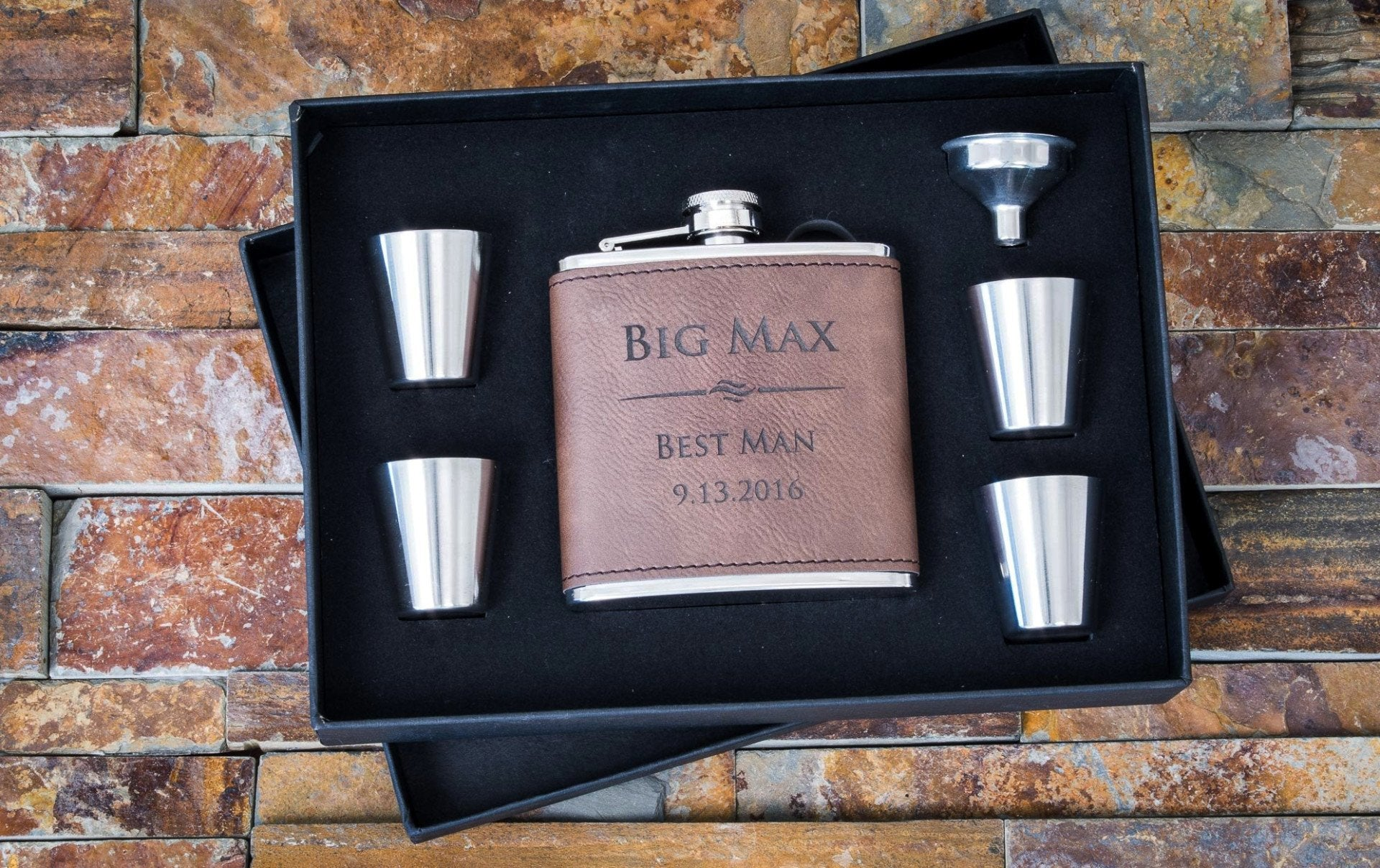 Leather flasks the personalized gift co custom engraved dark brown faux leather flask personalized groomsmen gifts 6pc set the jeuxipadfo Image collections