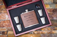 Custom Engraved Dark Brown Faux Leather Flask, Personalized Groomsmen Gifts, 6pc Set - The Personalized Gift Co. - Wedding Favors - 1