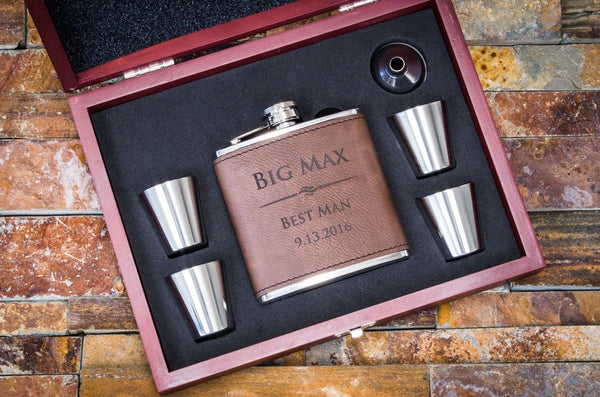 personalized flask gift set, personalized flask, engraved flask