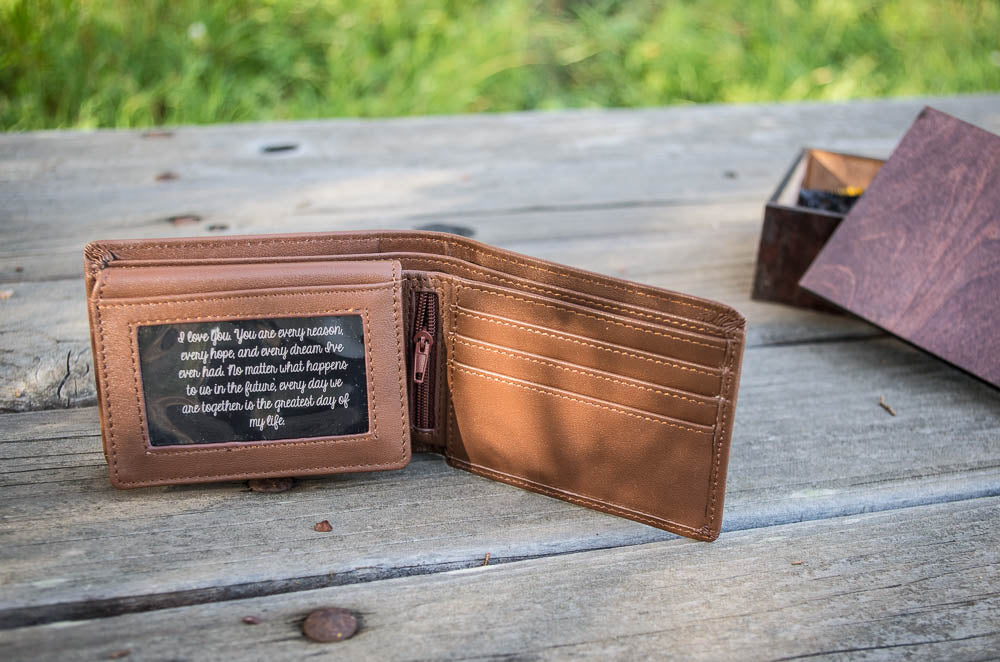 33a8f4f03889 Personalized Wallet Leather Mens Engraved Wallet - Great Husband Gift or Boyfriend  Gift