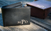 Personalized Wallet Leather Mens Engraved Wallet - Great Husband Gift or Boyfriend Gift