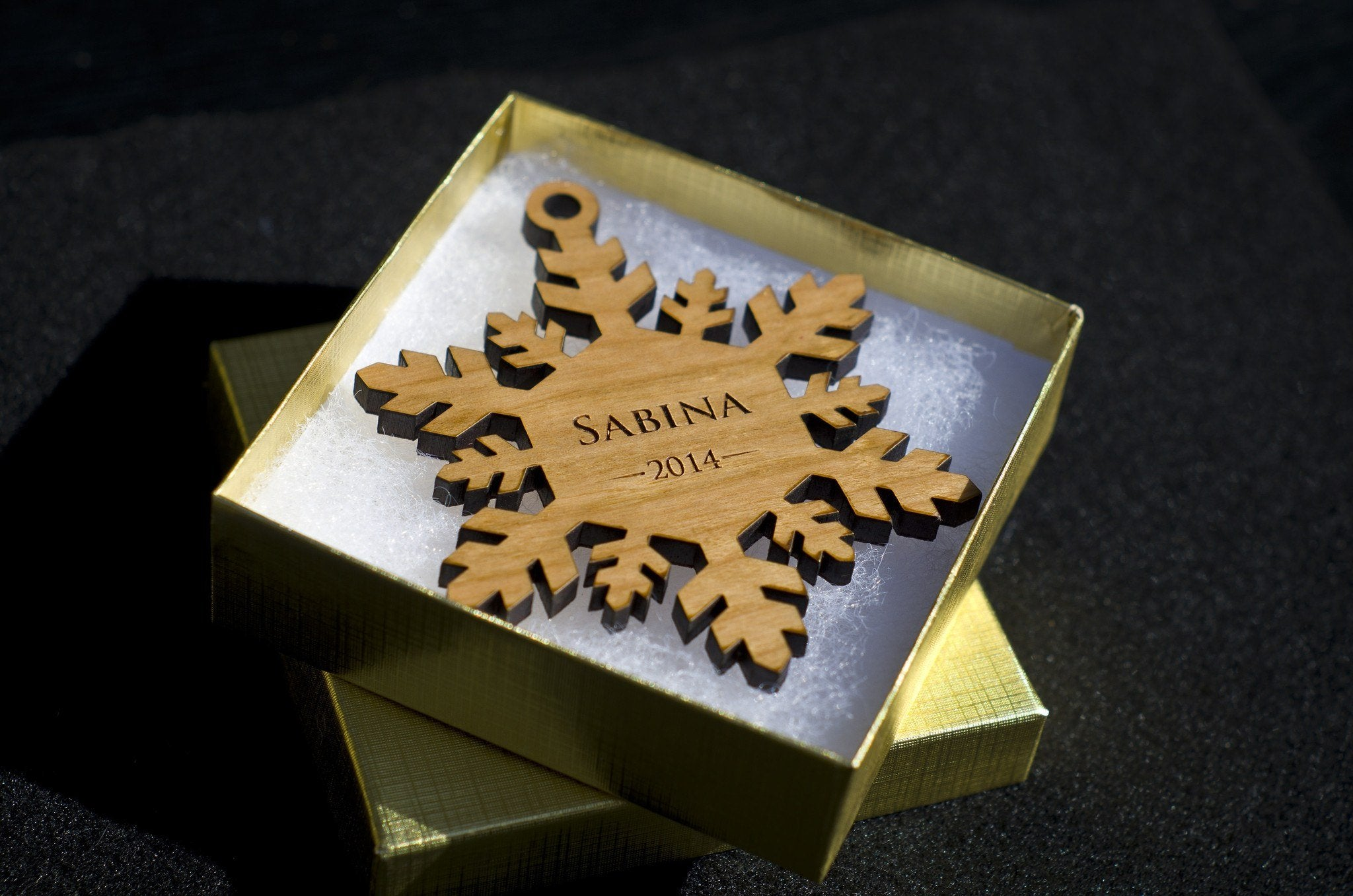 Personalizable ornaments -  Personalized Snowflake Christmas Ornament W Gift Box Custom Engraved Wood Holiday Ornament The