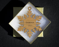 Personalized Snowflake Christmas Ornament w/ Gift Box, Custom Engraved Wood Holiday Ornament - The Personalized Gift Co. - Ornaments - 1