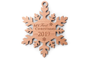 Ships Next Day - Baby's First Christmas Snowflake Ornament 2019 - Engraved Wood 1st Christmas / Baby Girl or Boy My First Christmas