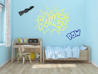 Comic Book Action Words Wall Decal Set, Super Hero Sound Effect Sticker Art. Kid's Room Comic Book Wall Art, Cartoon Comic Decals